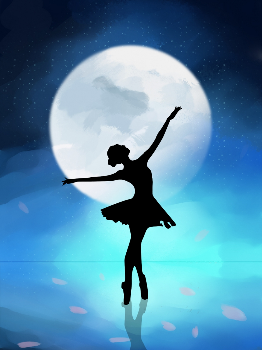 Beautiful Starry Sky Ballet Dance Girl Background Starry Sky 900x1203