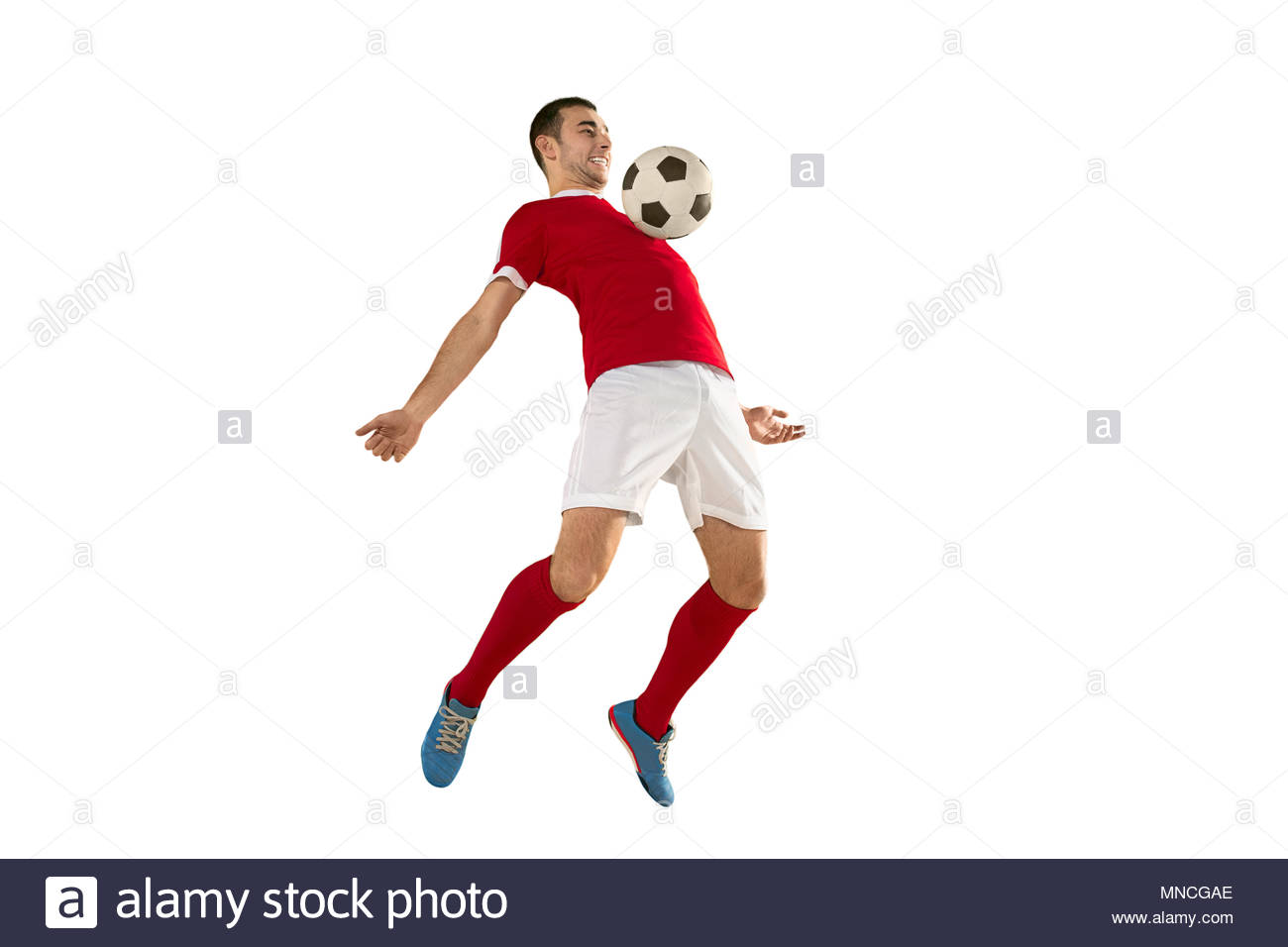 Professional football soccer player in motion isolated white 1300x956