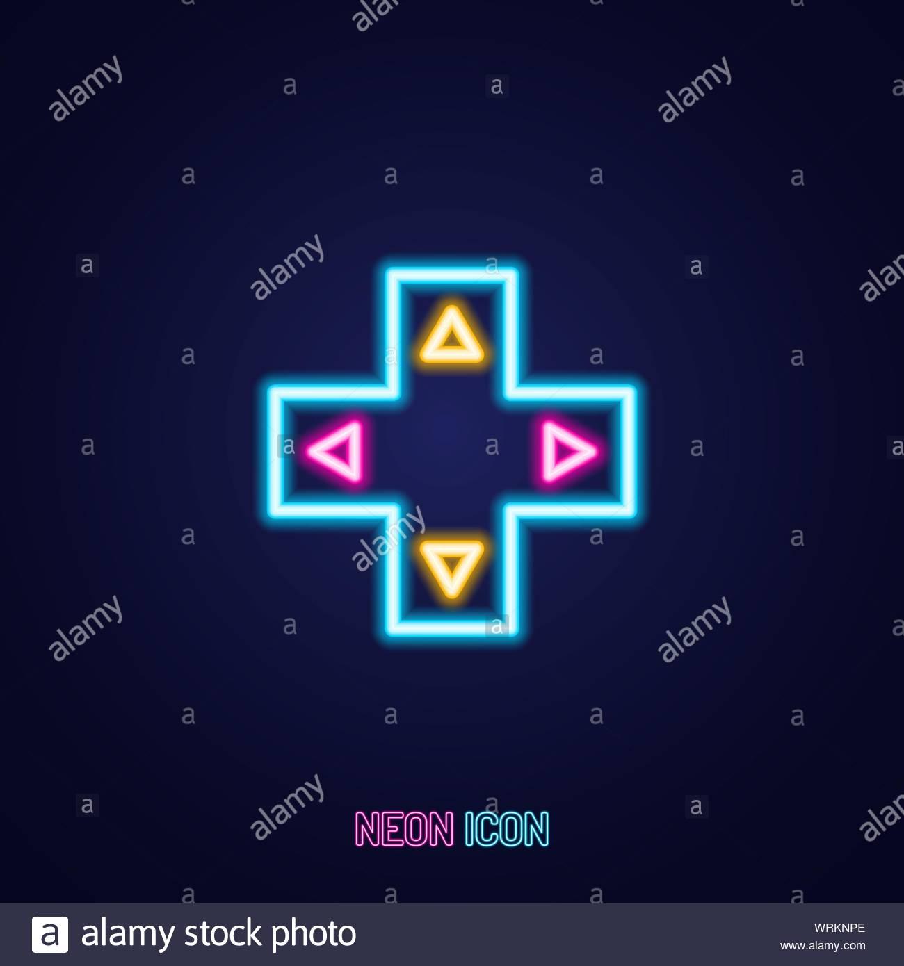 arrow joystick simple luminous neon outline colorful icon on blue 1300x1390