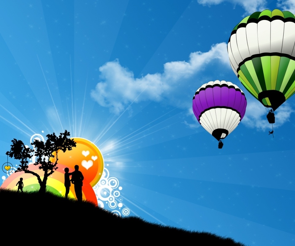 color Balloons and couples wallpapers for android 960x800