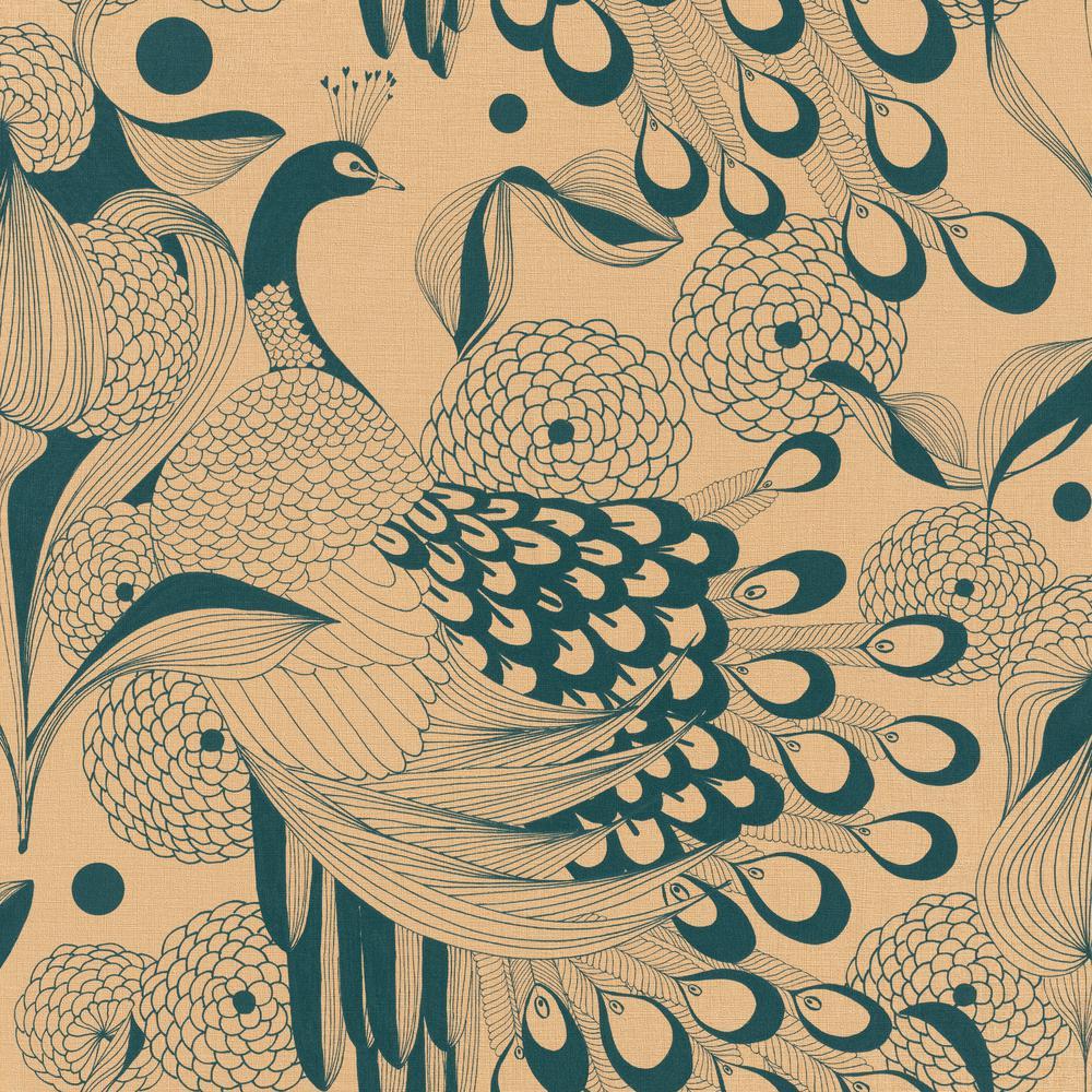 Walls Republic Illustrated Peacocks Wallpaper Gold Teal Paper 1000x1000