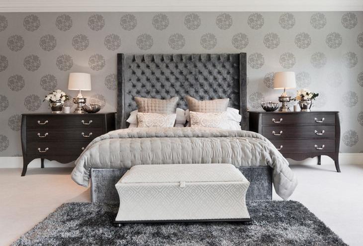 Stunning Grey Ideas Stunning Grey Wallpaper In Modern Bedroom Ideas 730x495