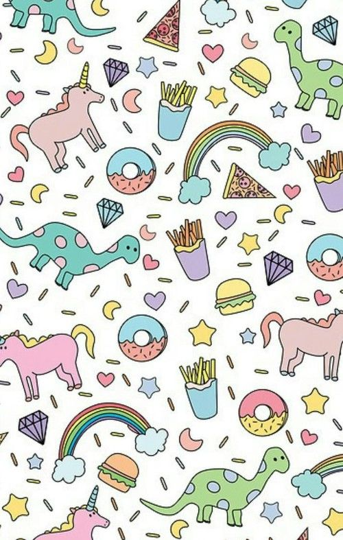 dinosaur rainbow french fry iphone wallpaper Background cute 500x787