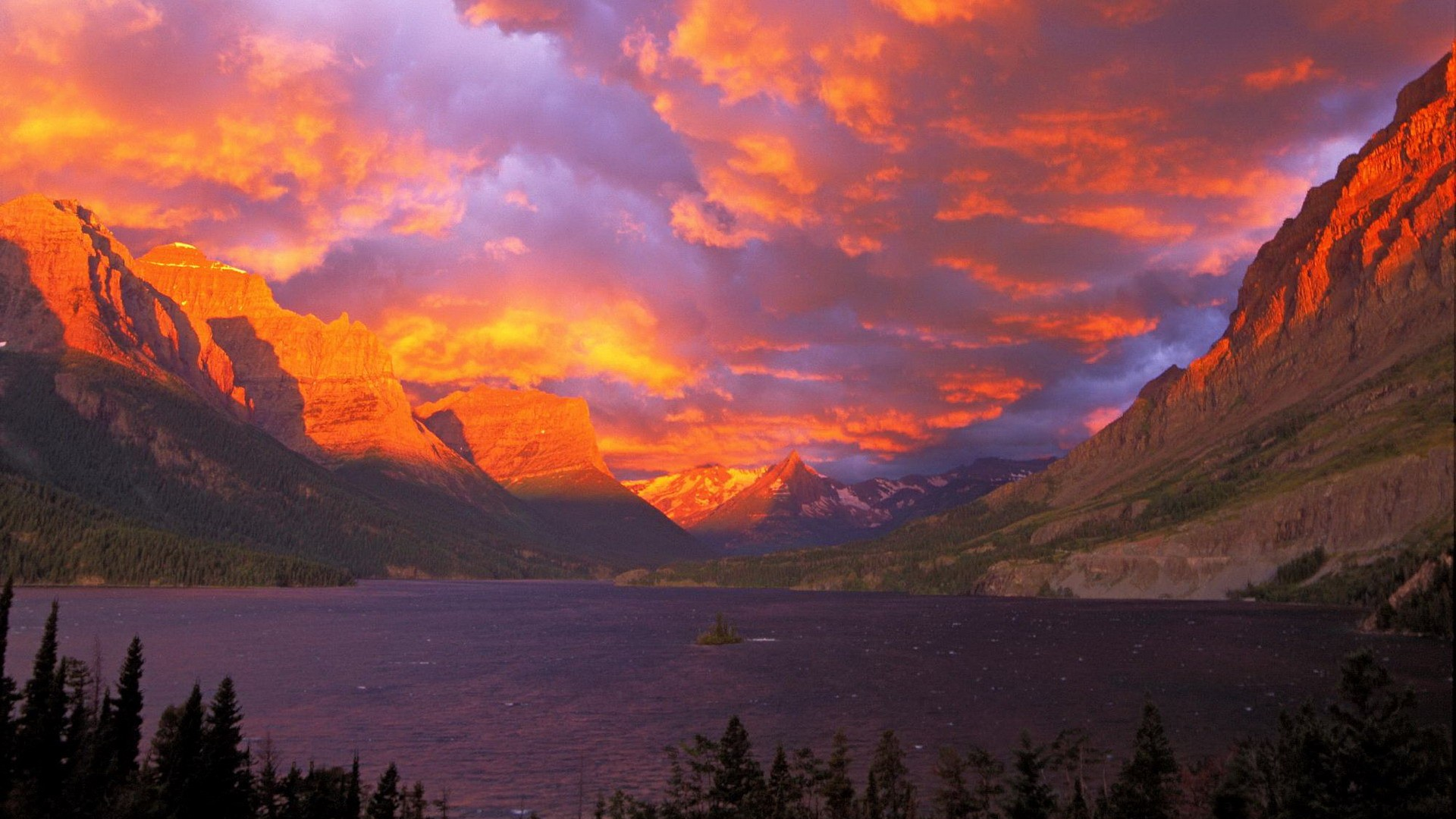 sunrise National Park Glacier National Park Saint Mary Lake wallpaper 1920x1080