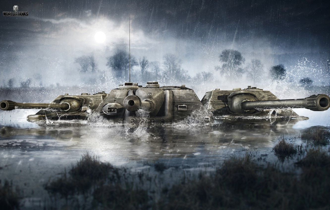 Wallpaper The sky Water Clouds Trees Rain WoT World of Tanks 1332x850