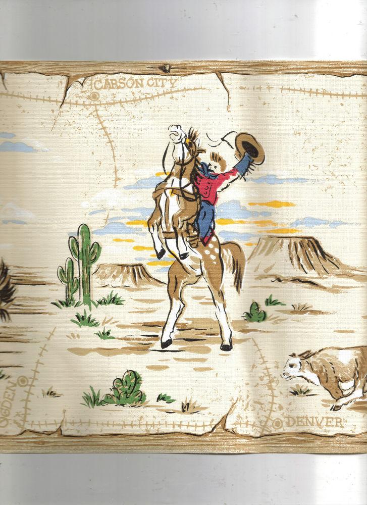Western Cowboys Riding Rodeo Style Wallpaper Border KZ4269B eBay 727x1000