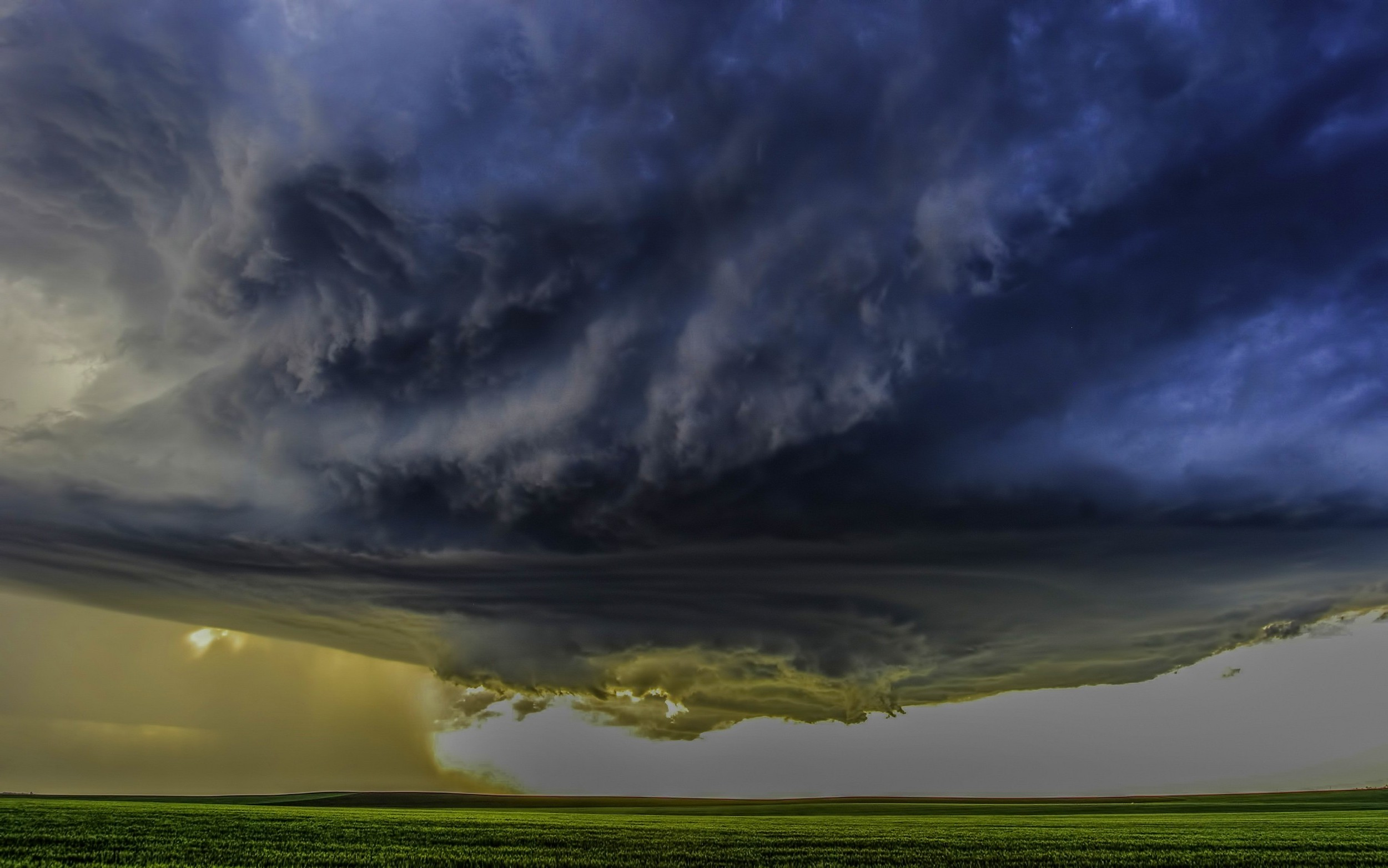 nature Landscape Supercell Storm Clouds Field Wind 2500x1563
