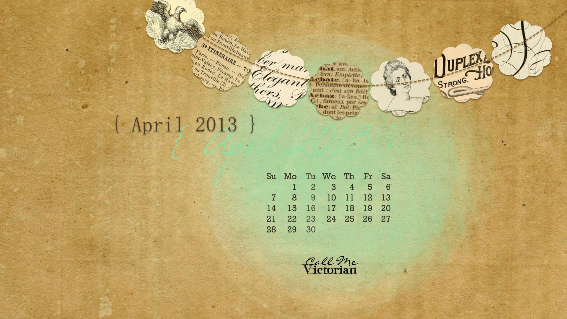 April 2013 Desktop Calendar Wallpaper Call Me Victorian 1920x1080