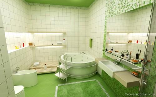 kid bathroom wallpaper Attractive Green Kids Bathroom Ideas Posted 500x312