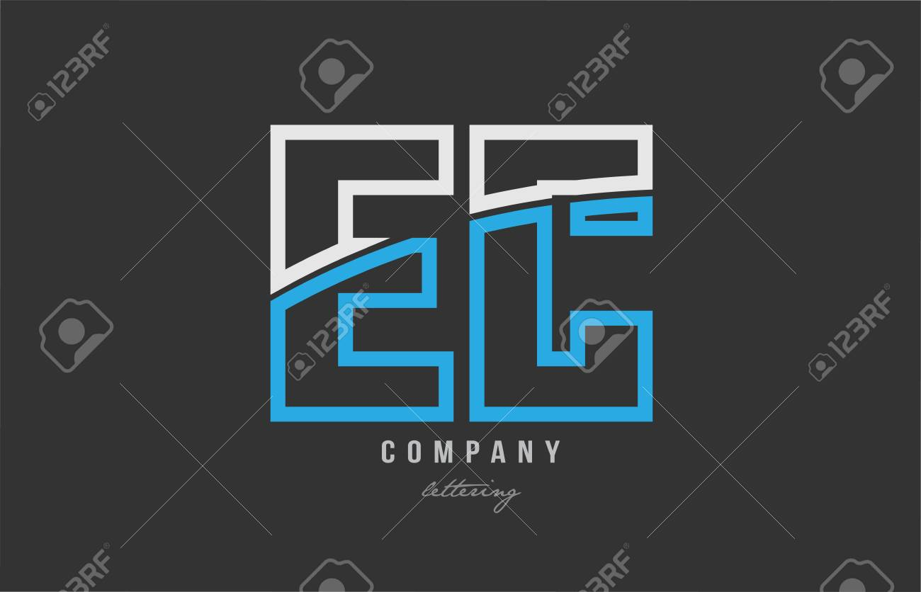 White Blue Alphabet Letter Ec E C Logo Combination Design On 1300x836
