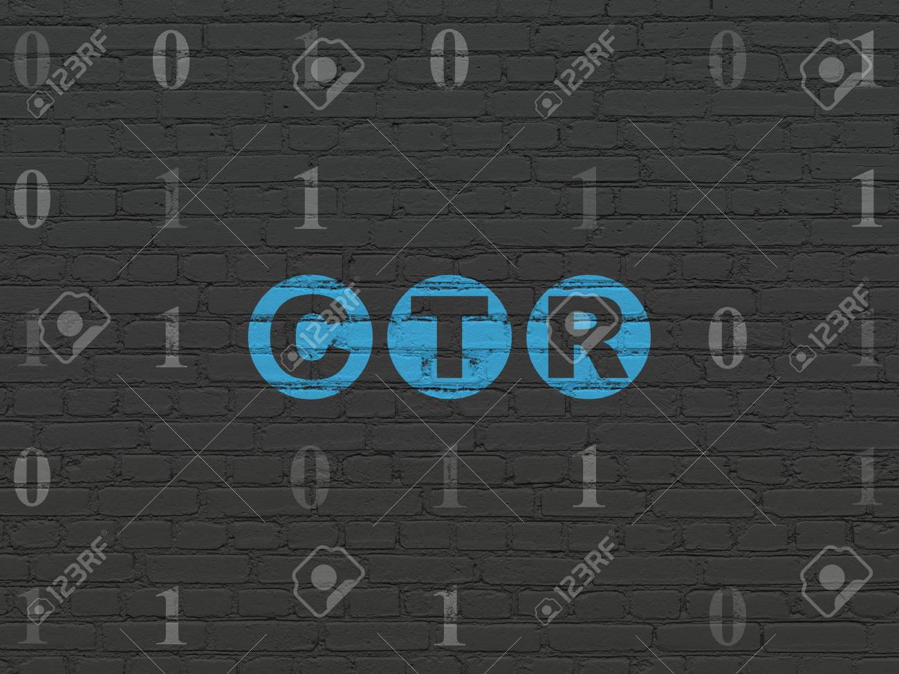 Finance Concept Painted Blue Text CTR On Black Brick Wall 1300x975
