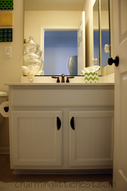 Bathroom Cabinets A Fresh Update with Paint and Beadboard Wallpaper 534x800