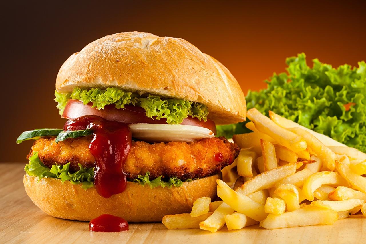 Photos Hamburger finger chips Ketchup Fast food Food 1280x853