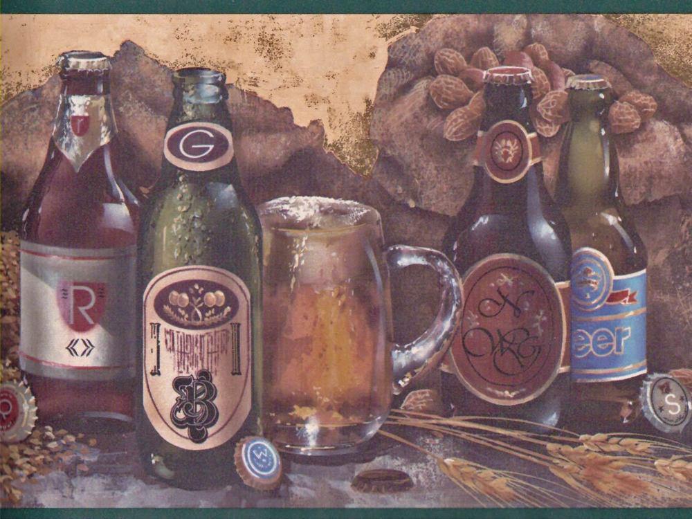 Label Beer Bottles on Shelf Sale 7 95 Wallpaper Border 109 eBay 1000x750