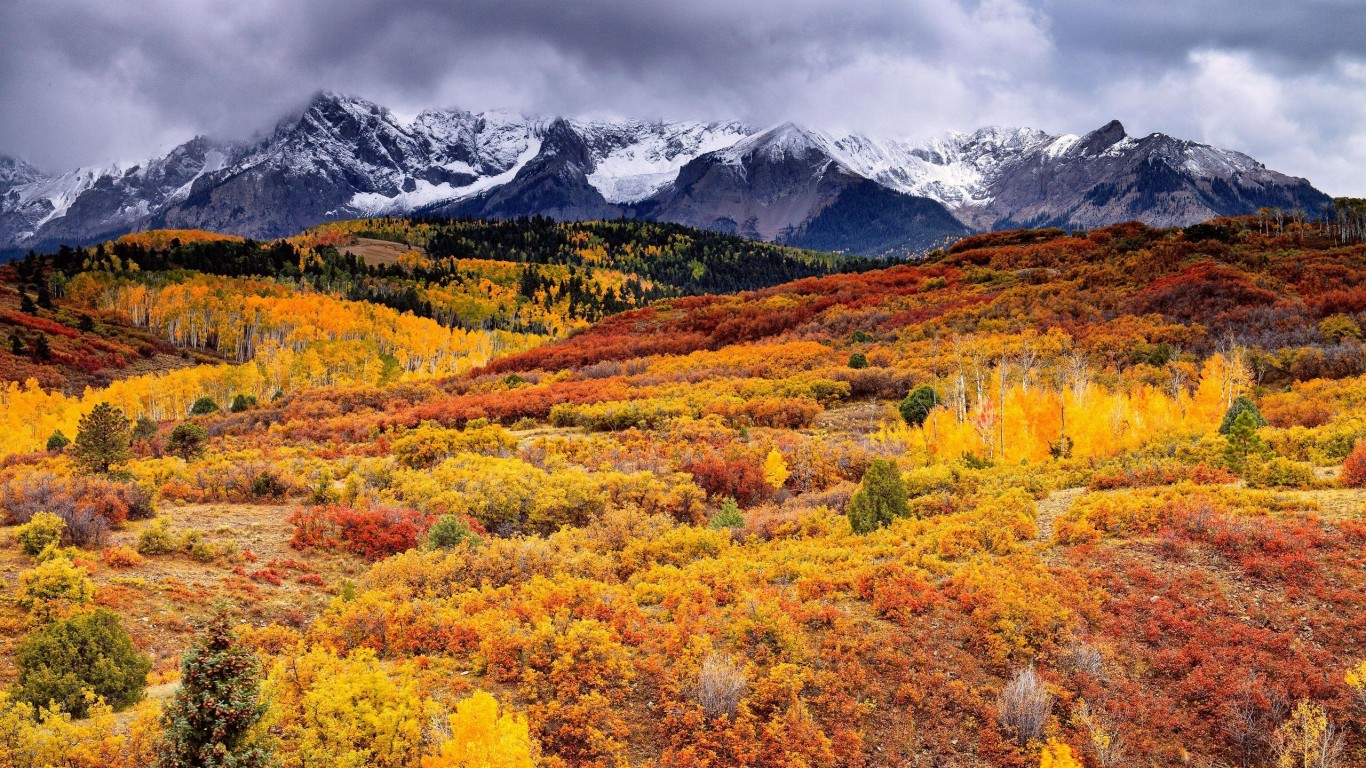 Autumn hills and snowy mountains Widescreen and Full HD Wallpapers 1366x768