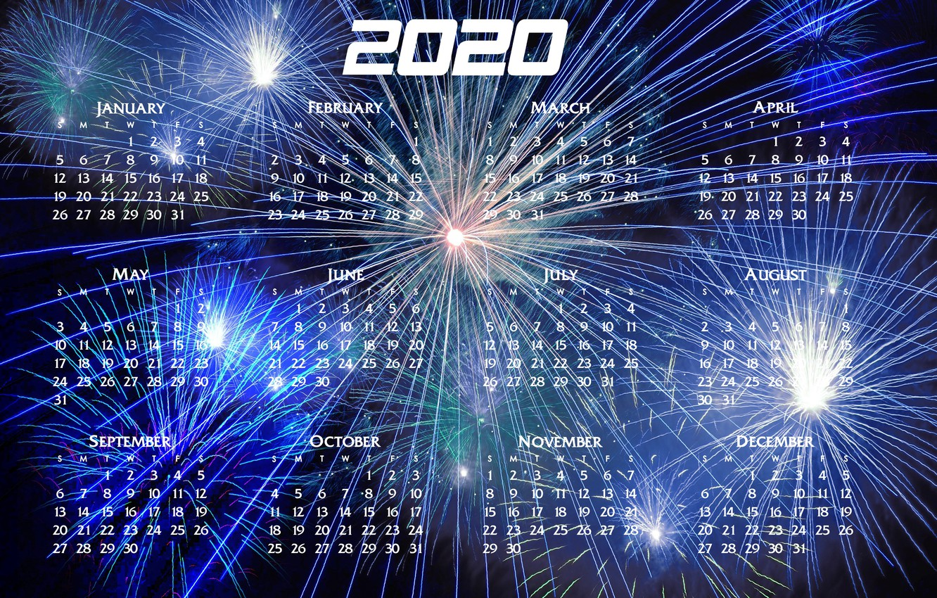 Wallpaper New year calendar 2020 images for desktop section 1332x850