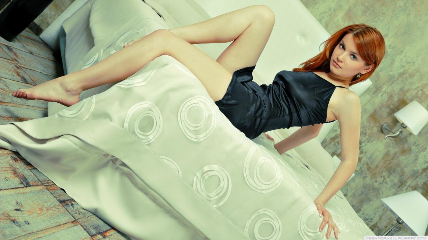 Long Legs Short Dress Redhead Girl On Top Of Bed 1366768 Wallpaper 1366x768