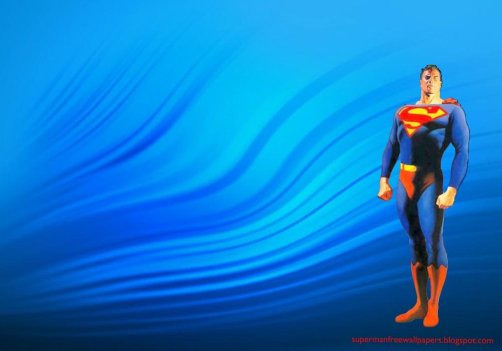 Desktop Wallpaper of Superman Standing Tall in Water Ripple Desktop 1000x700