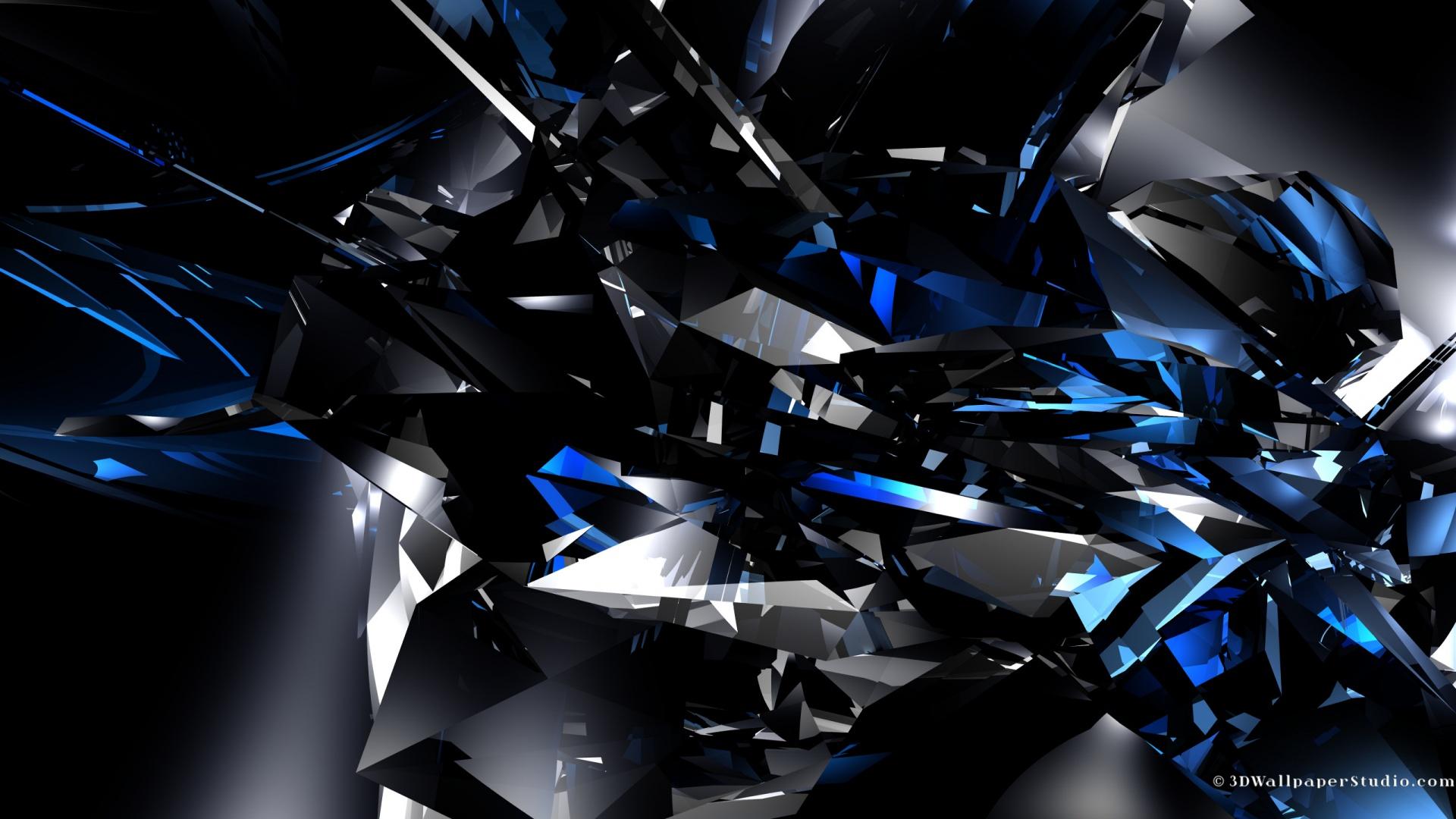 3D blue crystals wallpapers 1920x1080 1920x1080