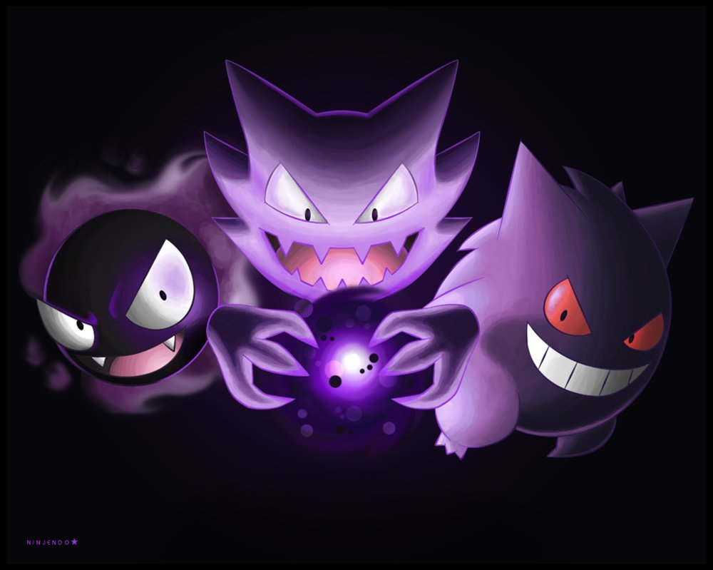 Gastly Haunter and Gengar by Ninjendo 1000x799