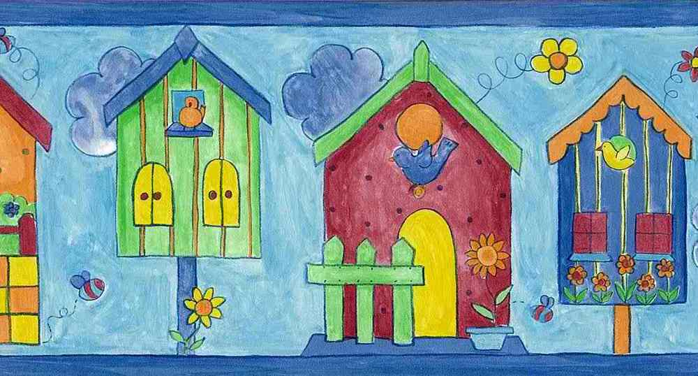Blue Birdhouse Wallpaper Border Birds Red Green Orange Kids Norwall 1000x538