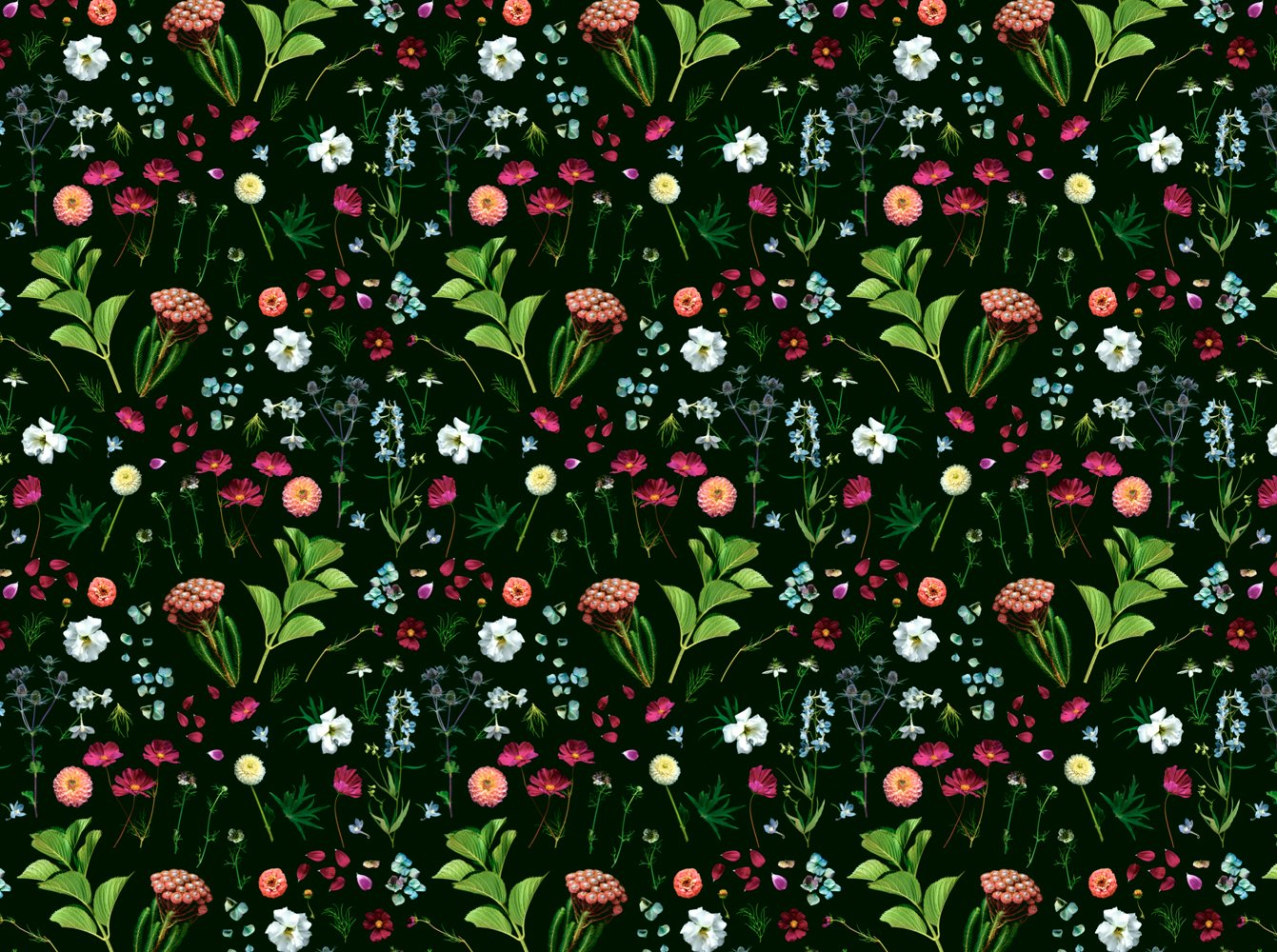 Country Garden Wallpaper Mural by artist Helen Bankers   Back To 1341x1000