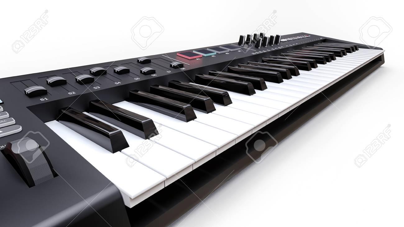 Black Synthesizer MIDI Keyboard On White Background Synth Keys 1300x731
