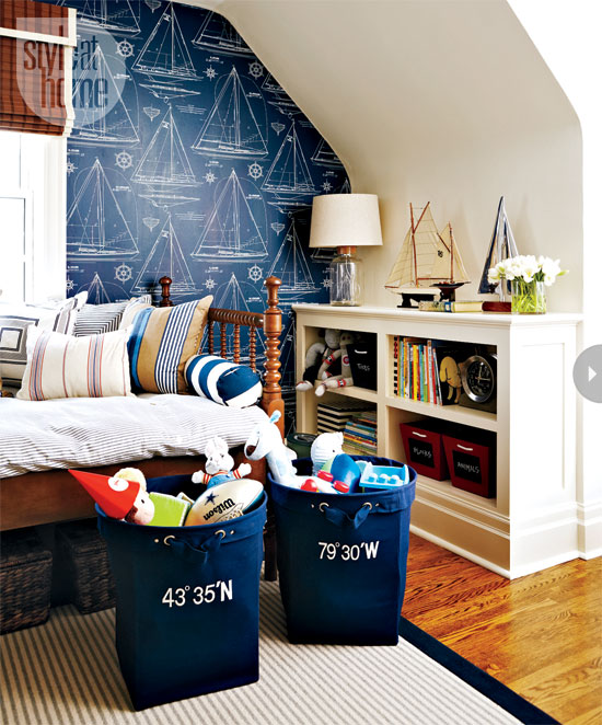 Bleeks Fun Kids Room With Navy And White Sailing Themed Wallpaper 550x662