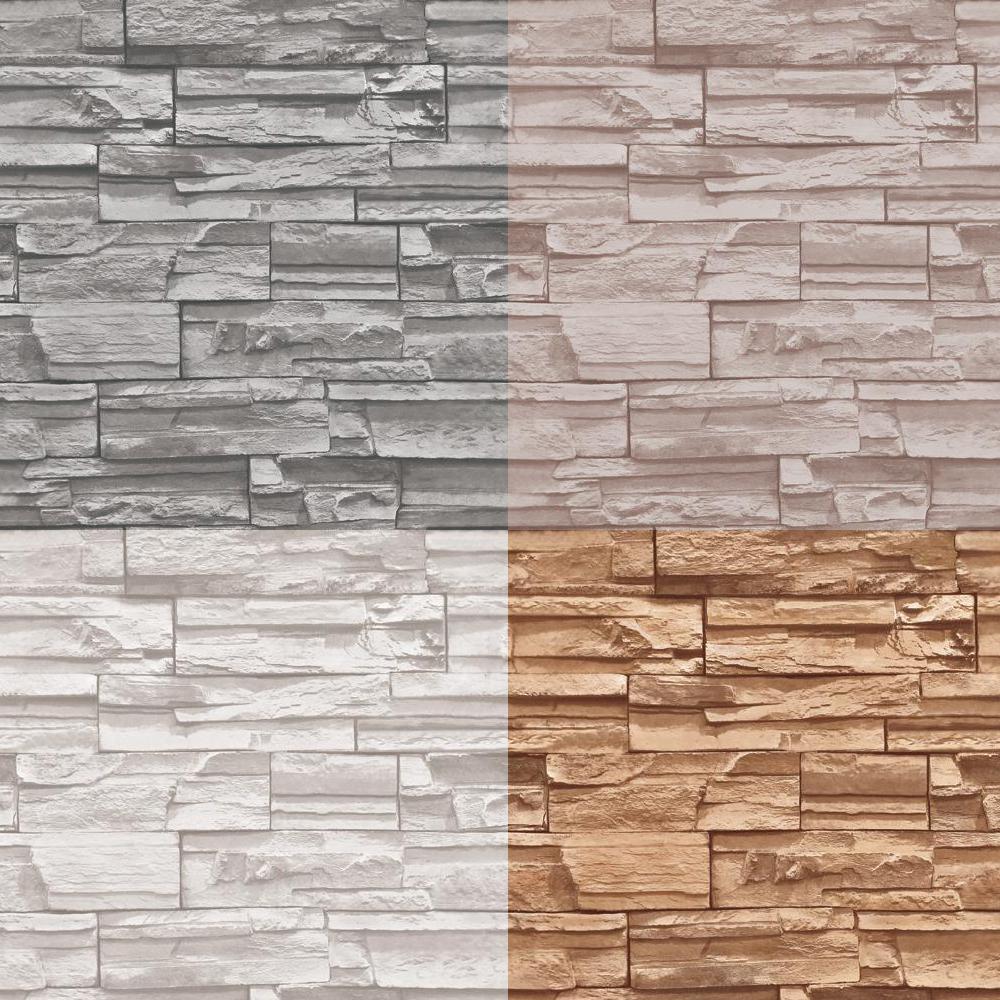 Real Look Realistic Grey Stacked Brick Stone Vinyl Wallpaper eBay 1000x1000