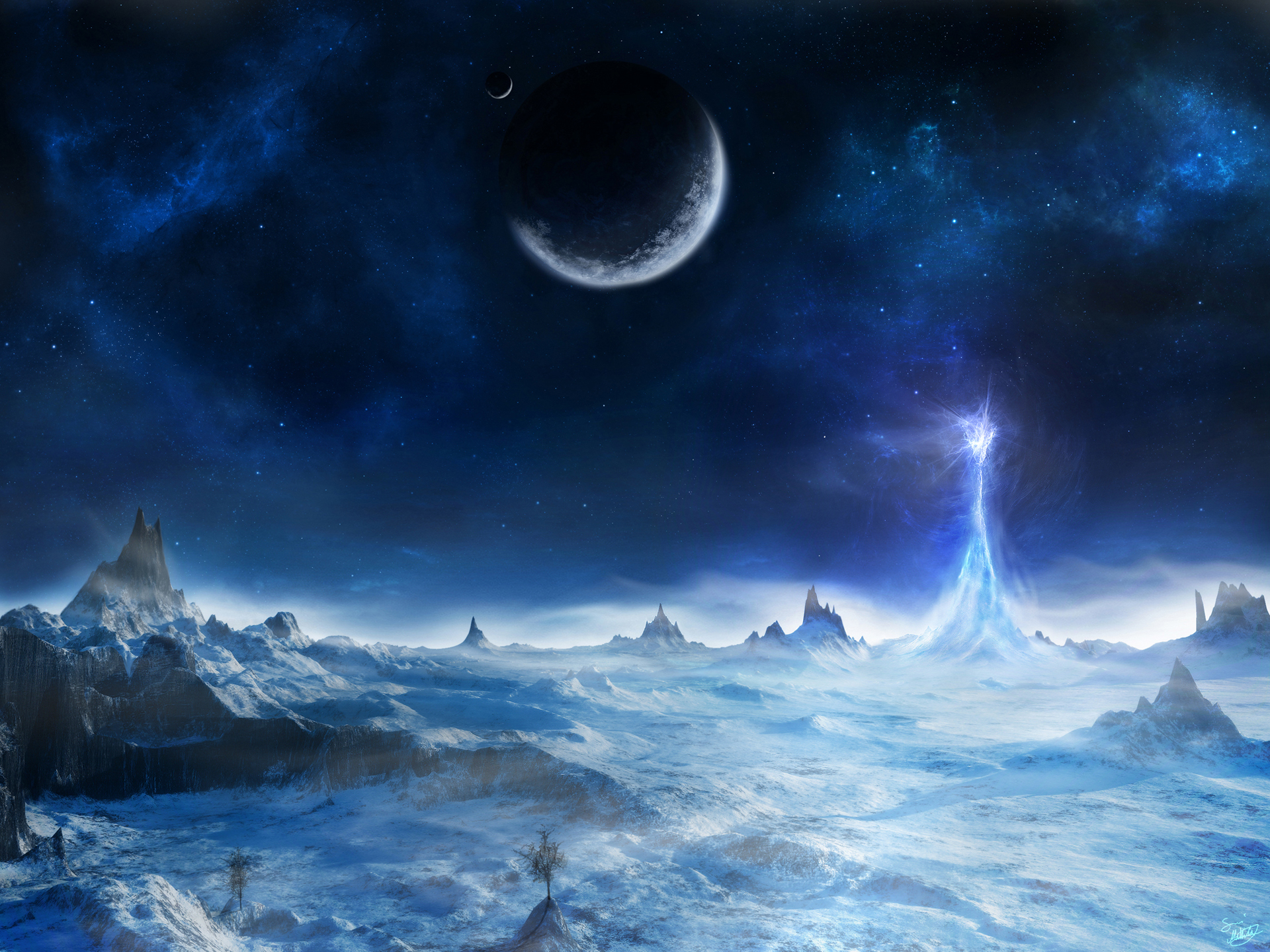 Full HD Wallpapers Space Blue Ice Planets Landscapes by Sami 1920x1440