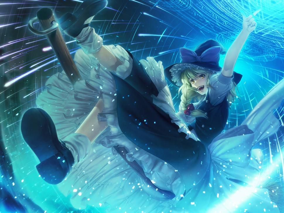 Marisa Kirisame Blue Anime Touhou HD wallpaper anime Wallpaper 970x727