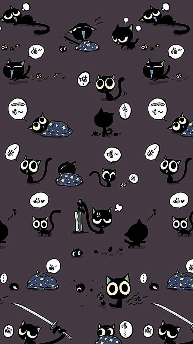 Cute Black Cat Pattern Wallpaper   iPhone Wallpapers 640x1136
