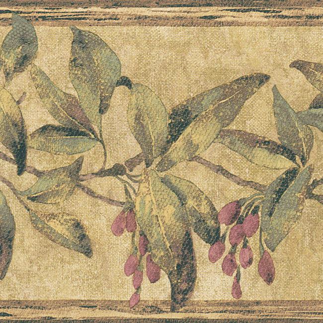 Burgundy Berry Floral Border Wallpaper eBay 650x650