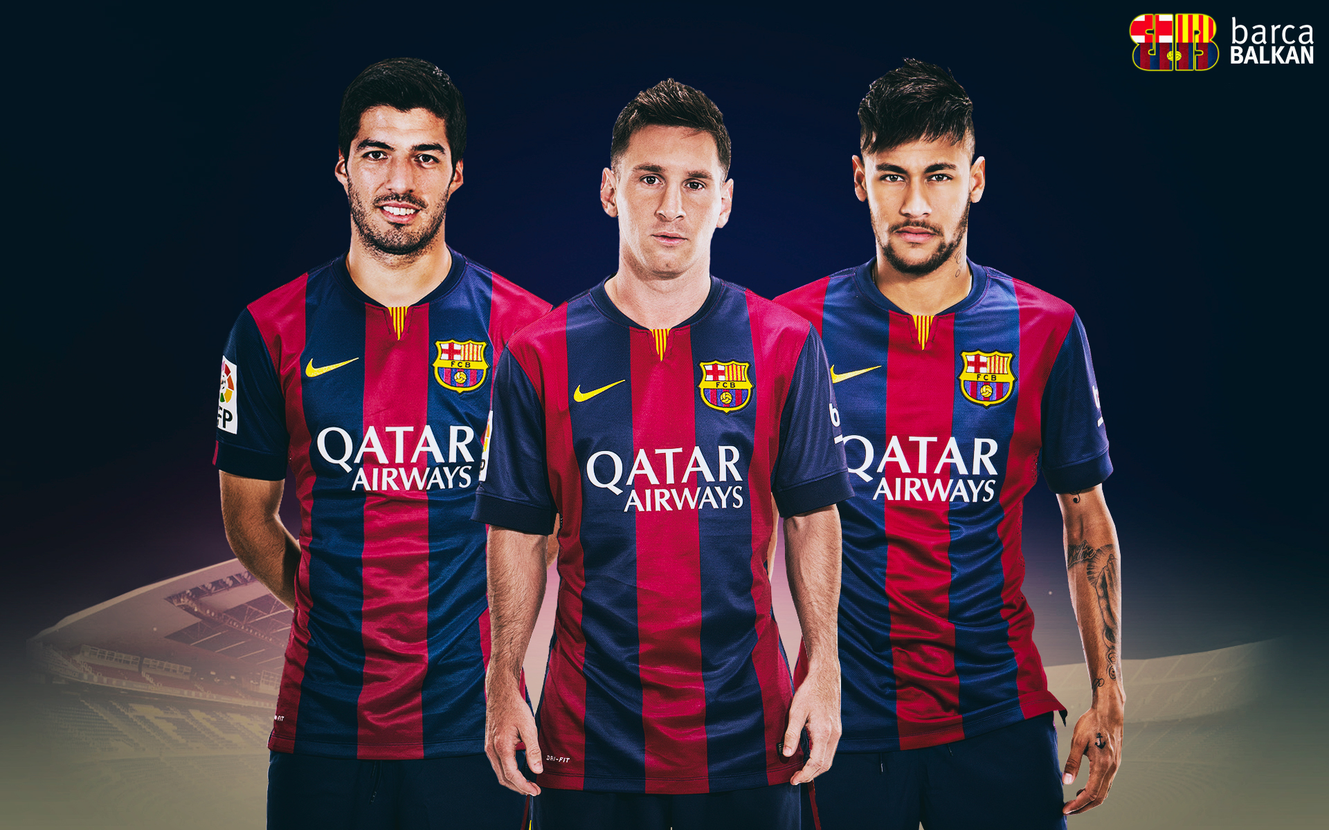 Suarez Messi Neymar   HD wallpaper 2015 by SelvedinFCB 1920x1200