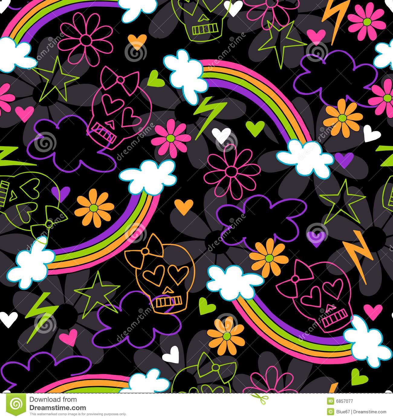 Girly Skull Pattern Wallpaper Girly skulls rainbow seamless 1300x1390