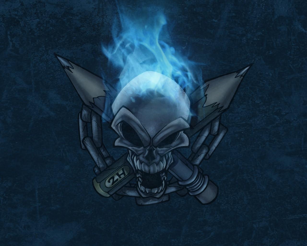 Download Artistic Skulls wallpaper blue flames skull 1280x1024