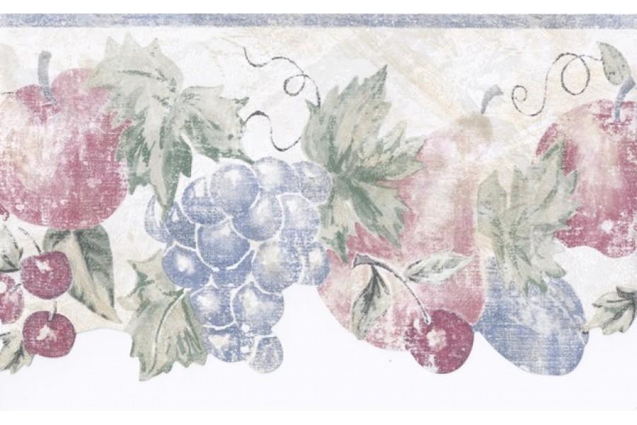 Blue Cream Stenciled Fruits Wallpaper Border 900x600