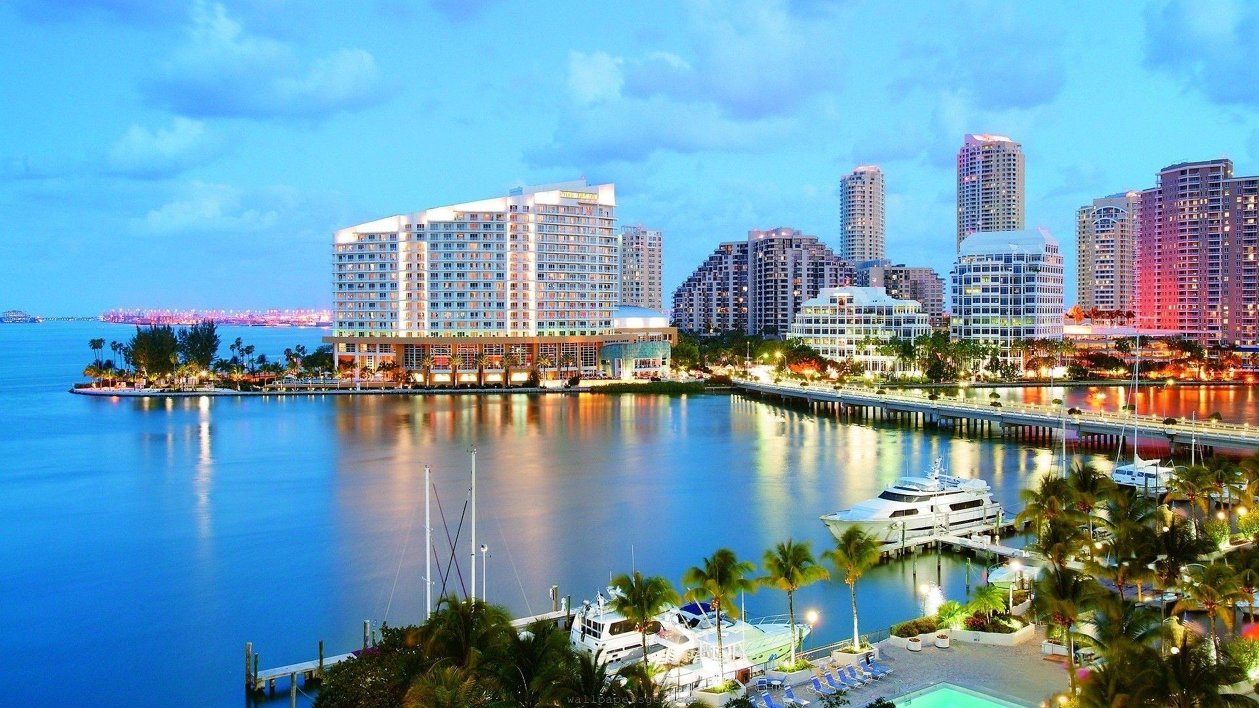 Miami Florida city beach ocean sea 4000x2250 wallpaper background 4000x2250