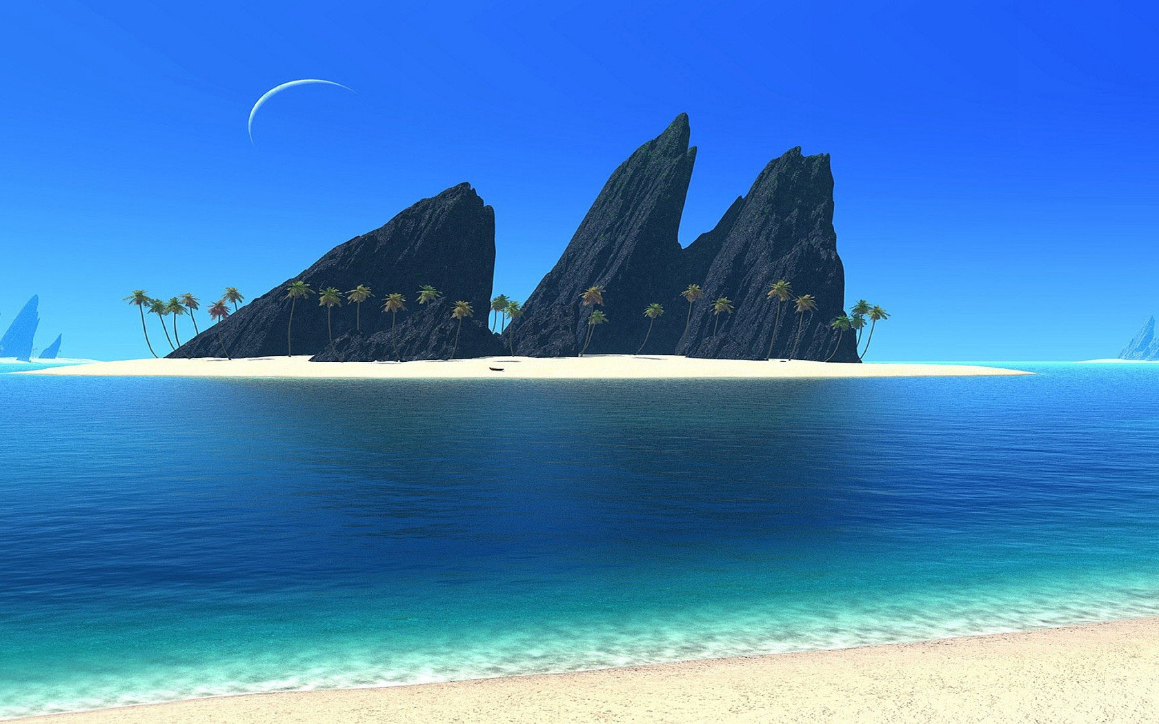 Sunny beach wallpaper 12378 1680x1050