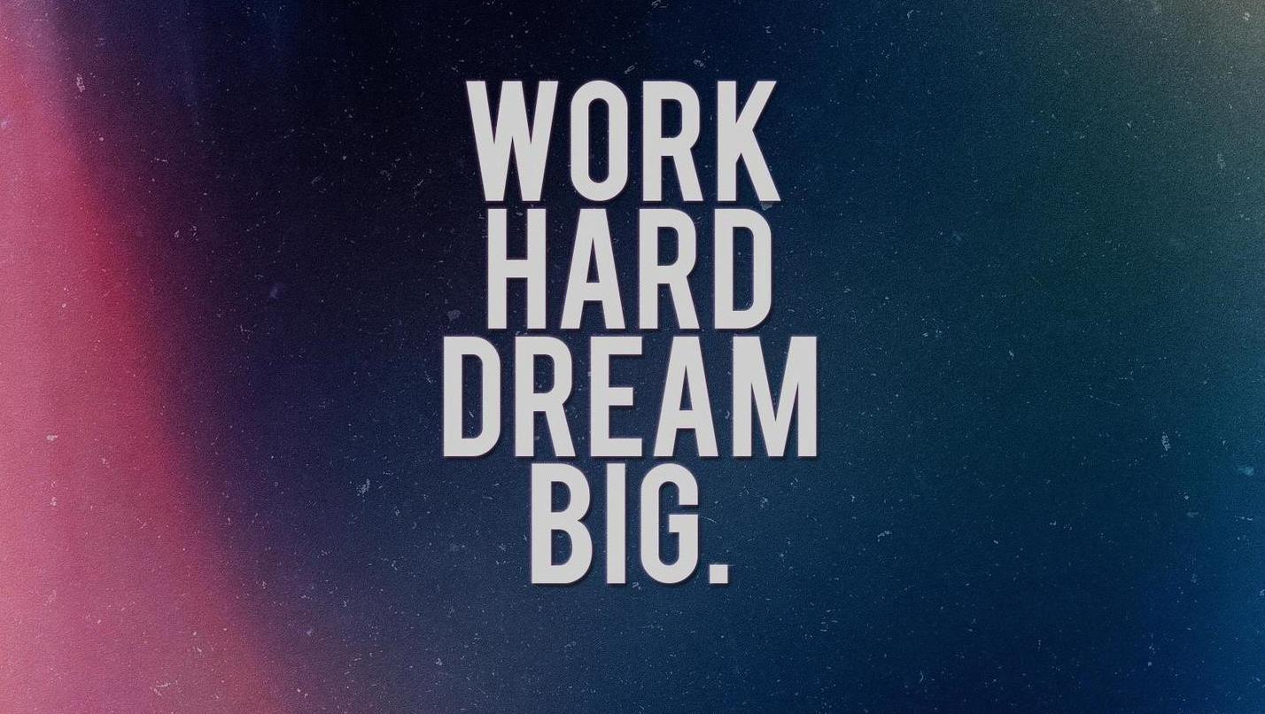 Motivational Wallpaper on Work Hard and Dream Big Dont Give Up World 1428x806