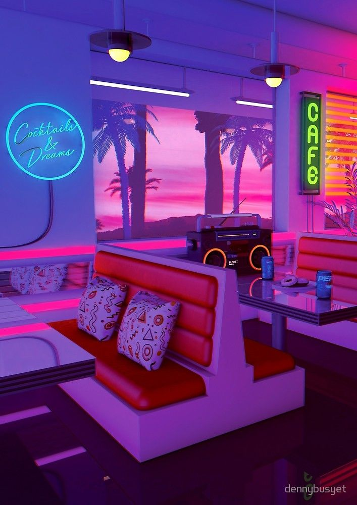 Cocktails And Dreams by dennybusyet Neon Lust 80s aesthetic 707x1000
