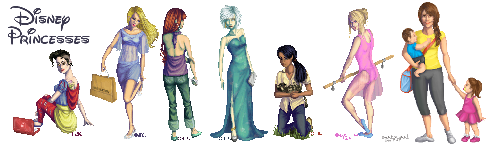 Disney Princesses   Modern day by Artzygrrl 1000x300
