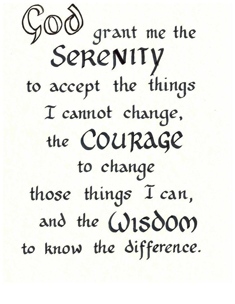 Bright image for serenity prayer printable