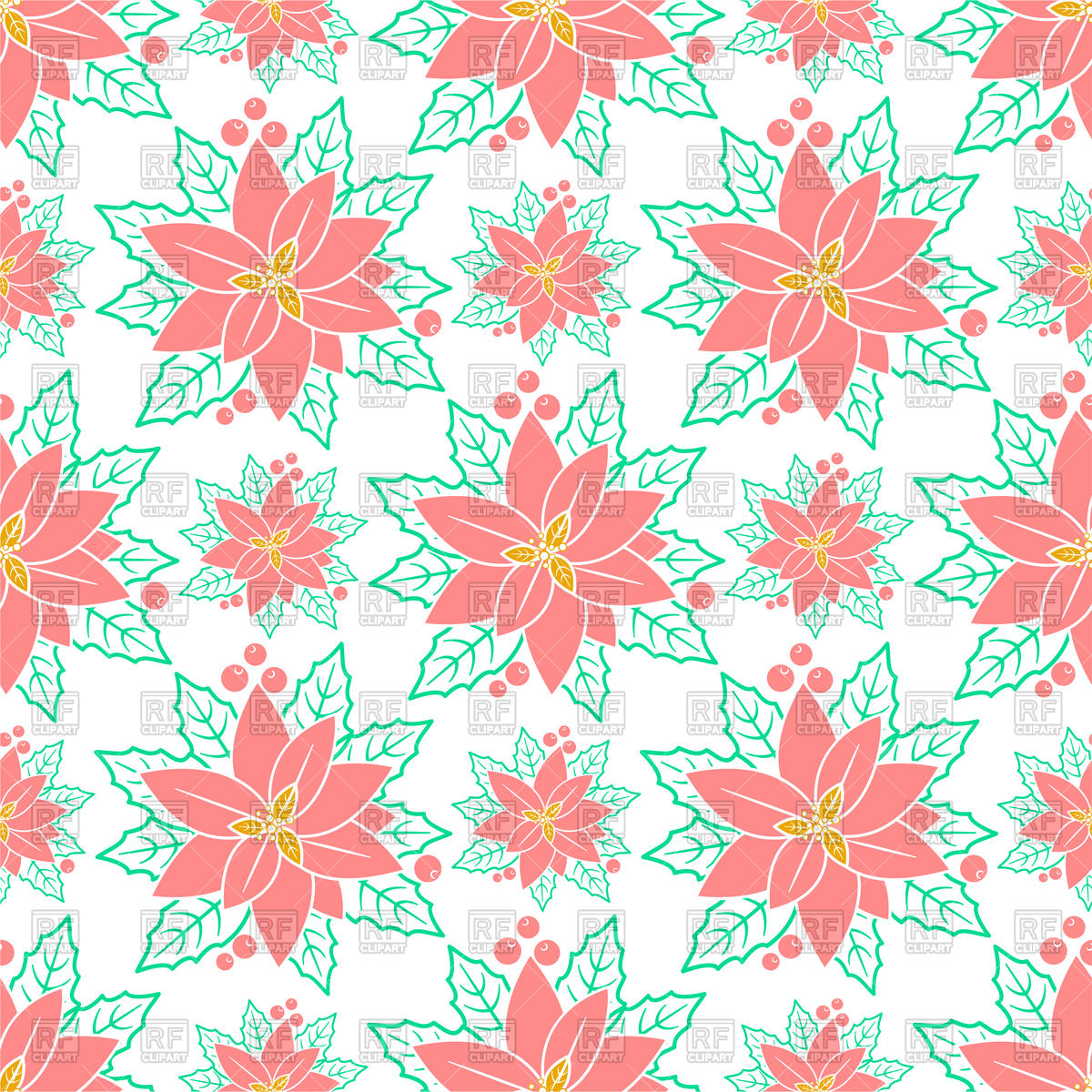 Seamless pattern background with poinsettia flowers Vector Image 1200x1200