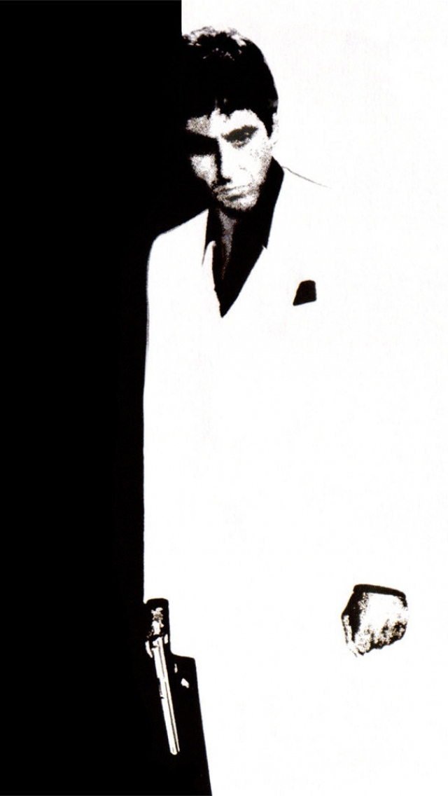 Download Wallpaper 640x1136 scarface tony montana black white iPhone 640x1136