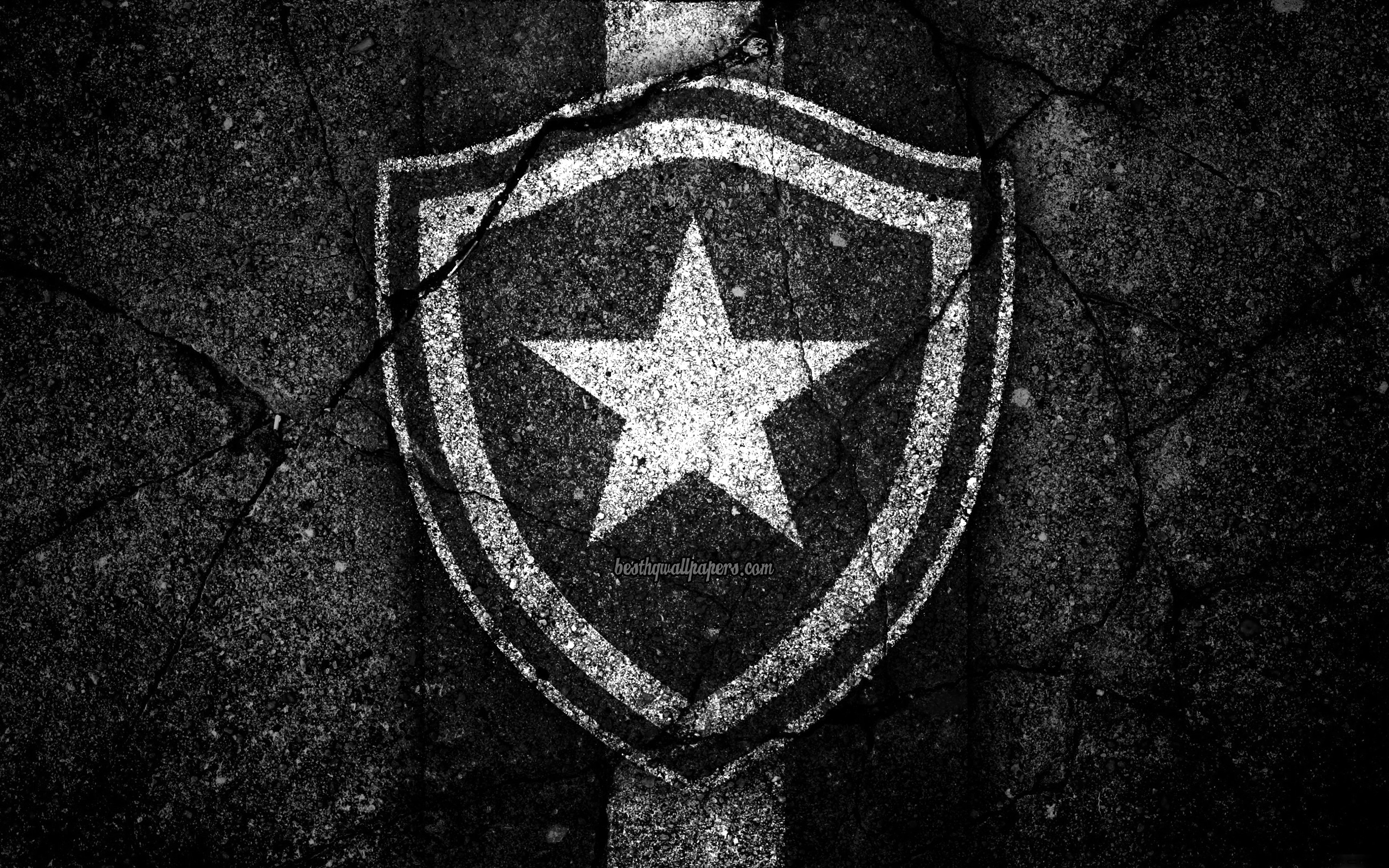 Download wallpapers 4k Botafogo FC logo Brazilian Seria A 3840x2400