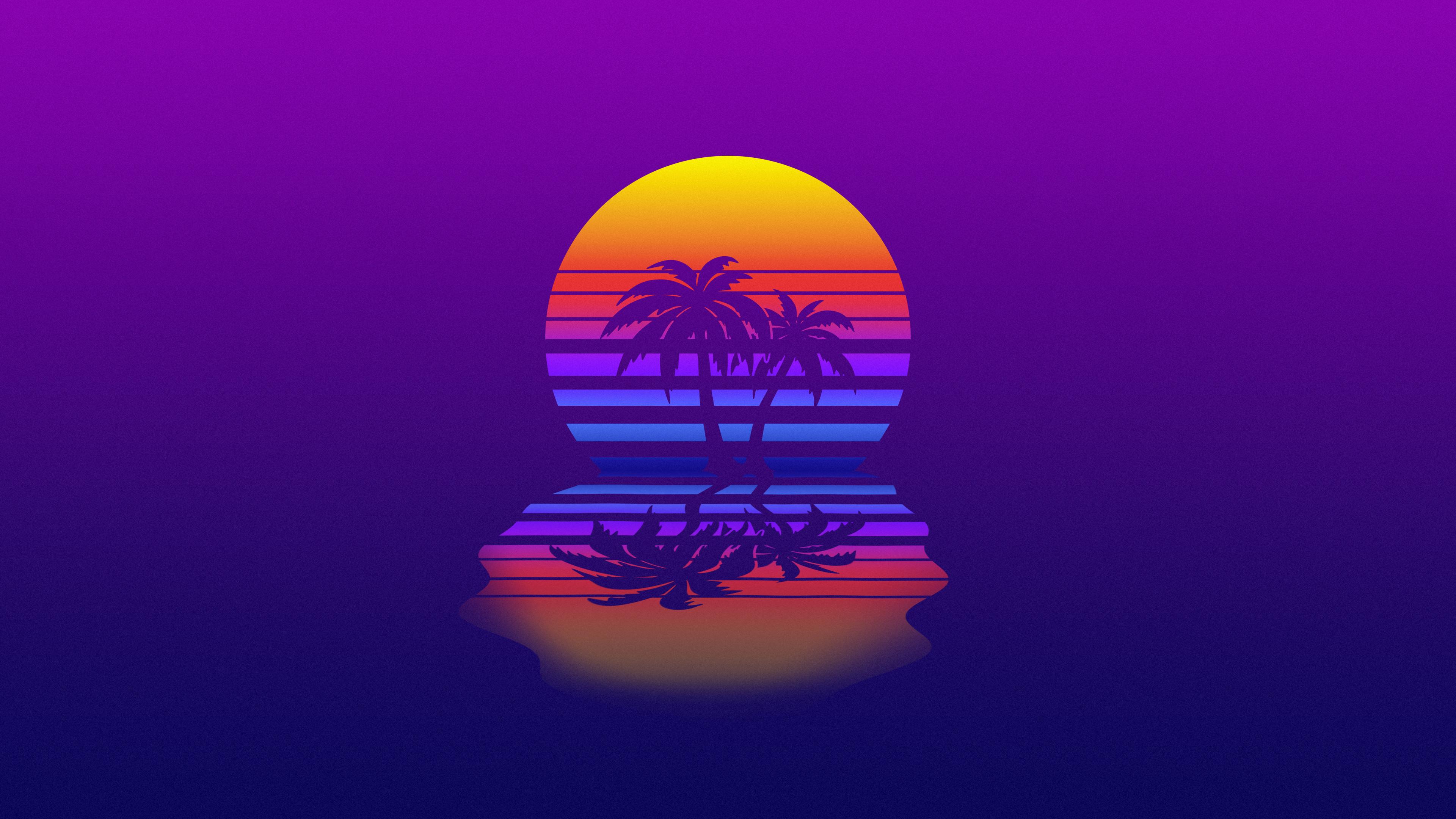 Palm Tree Synthwave Retrowave Digital Art 4K Wallpaper 76 3840x2160