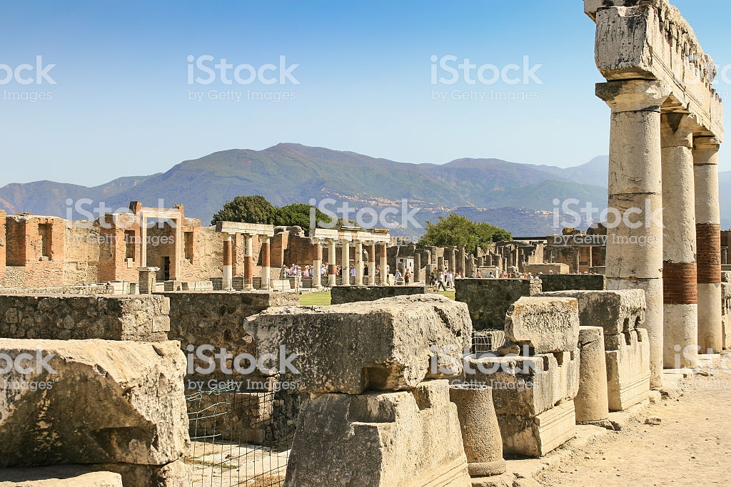 Ruins Of Pompeii With Mountain Range In Background Campania Italy 1024x683