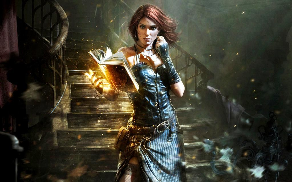 Female wizard or mage with spellbook dnd fantasy rpg 1024x640