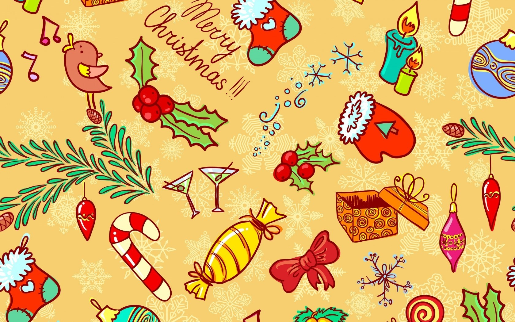 Christmas Vector Candy Toys Wallpaper 1680x1050